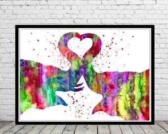 Elephant, Love, kiss, watercolor art print, Elephant print, watercolor Elephant, Elephant watercolor, elephant art, animal art (1094b)