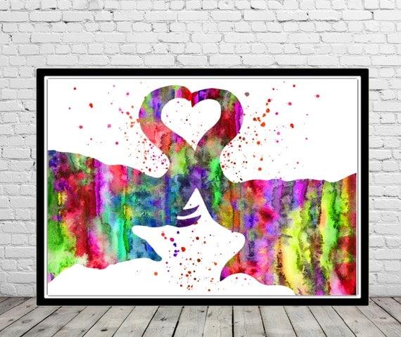 Elefante, amor, beso, acuarela pintura impresión, animal, decoración del hogar, acuarela grabado, elefante arte, animales (1094b)