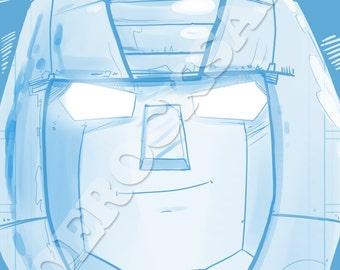 Bumblebee Blue Pencil Face Sketch