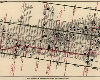 The Merchants' Association hotel and theater map in Manhattan, New York, NY.  1906.  Reproduction Vintage Map.  Available in multiple sizes.