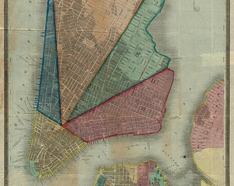 Map of Lower Manhattan, Brooklyn, Williamsburg, 1841.  New York, NYC.  Restoration Hardware Home Deco Style Old Wall Vintage Reprint.
