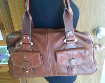 Vintage brown leather purse, brown leather purse, brown leather bag,