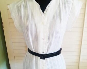 Vintage Sears white blouse, vintage blouse, white blouse, vintage blouse. vintage sears blouse