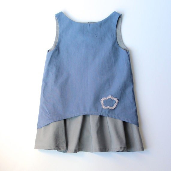 Silver Lining #makeforgood Childs Dress : Handmade lace cloud on a silver lined, blue sky cotton dress