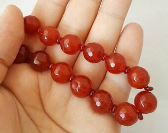 Carnelian bead necklace- beaded necklace / carnelian jewellery / gemstone necklace / natural carnelian /