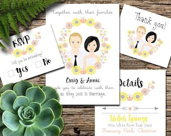 Custom Illustration Wedding Invitation - Sunflowers