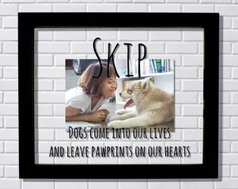 Custom Dog Frame - Personalized Custom Name - Dogs come into our lives and leave pawprints on our hearts - Dog Pet Loss Remembrance