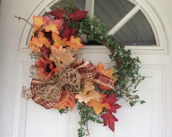Rustic fall wreath with ivy and leaves, autumn wreath, seasonal wreath