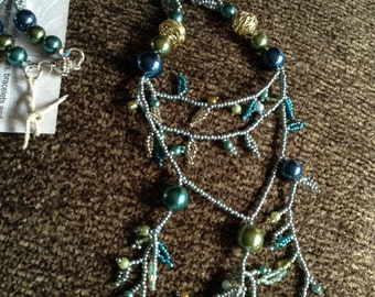 Leafy teal necklace