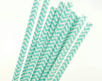 Paper Straws - blue acqua straws - chevron straws-colorful paper straws - birthday party straws - 10 count