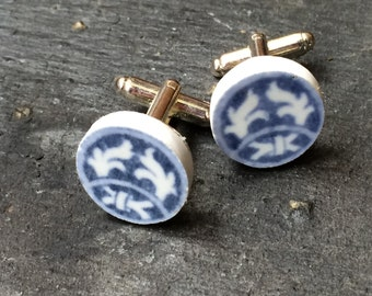 Up-cycled china cuff links