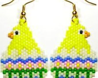 Easter Chick - Brick Stitch Earrings Pattern