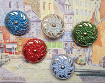 5 large colorful collector / glass buttons - Art Nouveau pattern - hand painted knobs