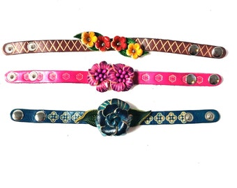 Genuine Leather Bracelet, Flowers Leather Bracelet, HFF151810