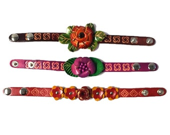 Genuine Leather Bracelet, Flowers Leather Bracelet, HFF150547
