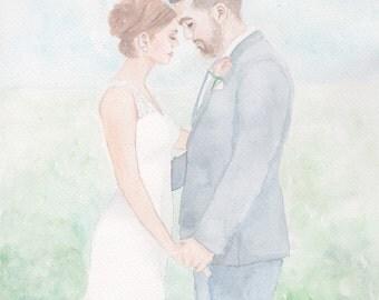 Wedding or Engagement Portrait- Custom Watercolor Painting