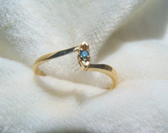 Natural Blue Diamond Ring in 14K Gold