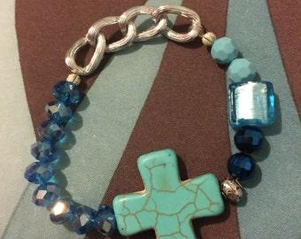 Blue Cross beaded bracelet