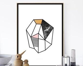 GEOMETRIC Print, Minimalist Geometric Poster, Stone Print, Geometric Art, home decor, Abstract Print, Scandinavian Poster, Digital Prints