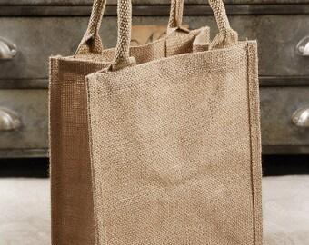 Six Burlap Tote Bags, 9 x 11. Handles, Tote Bags