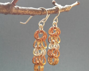 Cascade: Copper, bronze and aluminum chainmaille earrings in Shaggy Loops weave