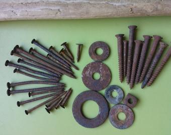 Rusty nails , rusty screws , rusty washers , vintage nails , rusty metal , old metal