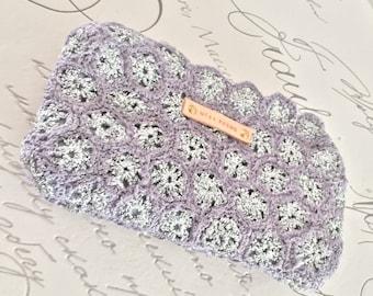 Metallic Silver and Grey Crochet Purse