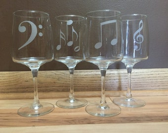Wine glass, musical, music notes, bridesmaid gifts, glass etched, gifts