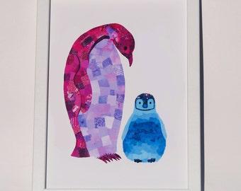 Mother and baby penguin art, Custom colours, Mothers day gift, Penguin family print, Mum love gift, Collage art, Nursery decor, Animal art