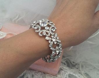 Stretchy Rhinestone Bracelet, Bridal Bracelet, Wedding Jewelry