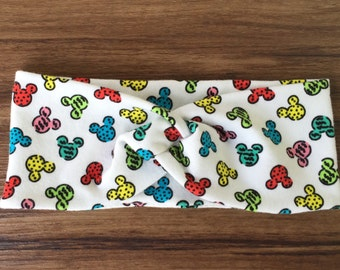 Mickey Mouse Turban Headband //head wrap //blue// red// yellow// green// Mickey// Disney