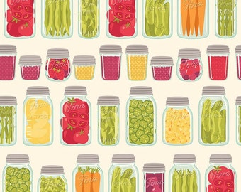 Farm Girl Mason Jars Cream by Riley Blake Designs - Canning Kitchen Food - Quilting Cotton Fabric - end of bolt pieces