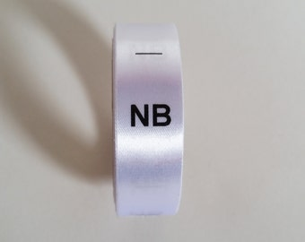 NB size labels. New Born Baby Clothing Tags