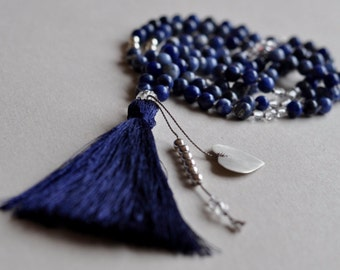 108 Sodalite Mala Necklace, Beaded Yoga Mala, Natural Gemstones, Hand-Knotted, Prayer Beads, Yoga, Meditation Jewelry, Sterling Silver