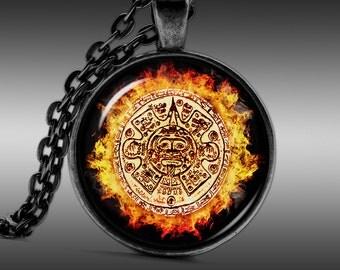 Aztec necklace, Maya Jewelry, Native Pendant  Pendants Charm Choker Chain FRW255