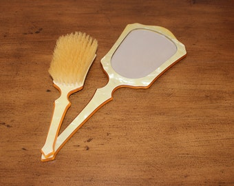 Vintage Vanity Brush and Hand Mirror Set - Excellent Condition!