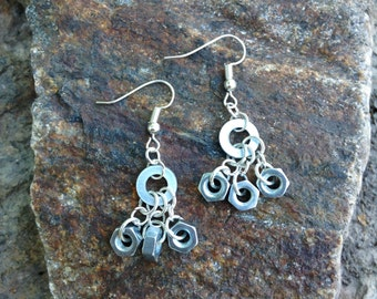 Earrings made from washer and nut - dangle earrings - washer and nut jewelry - gift for her - unique hardware earrings