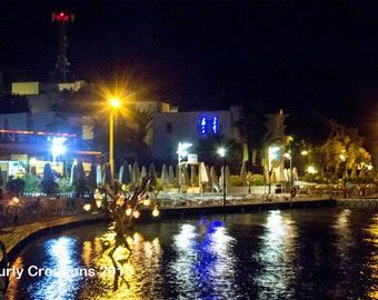 Photo of water reflections in turkey/unique art/night photography/lights and reflections/tree lanterns in water/night print/tropical print