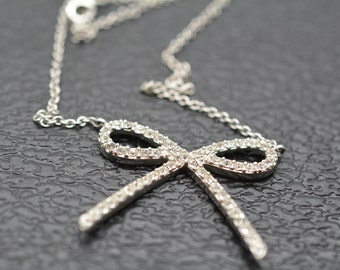 Vintage Sterling Silver Bow Tie Necklace