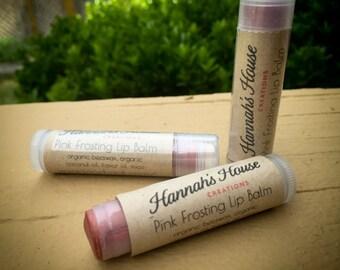 Pink Frosting Lip Balm vegan friendly coconut oil moisturizing lips .15 twist tube