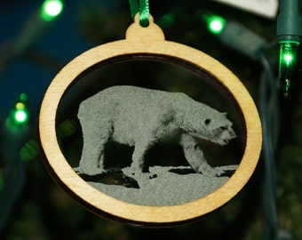 Polar Bear ornament, bear home decor, polar bear christmas, Christmas tree ornament, Holiday decorations, Artic critters, Etched ornaments