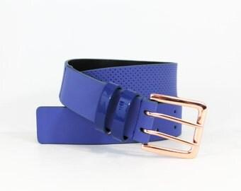Perforated Jean Belt in Genuine Italian Leather - Cobalt Blue
