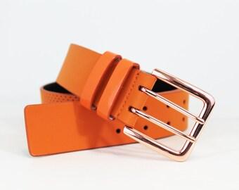 Perforated Jean Belt in Genuine Italian Leather - Orange