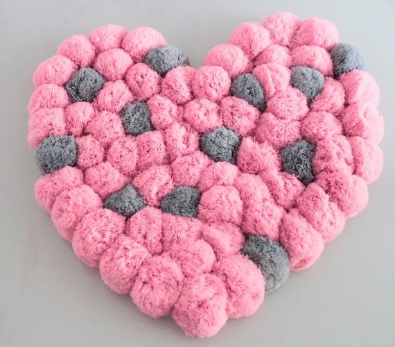 Pink Pom Pom Rug Heart Rug Soft Nursery Rug Luxury Rug