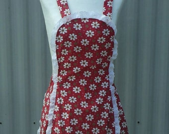 full apron, womens apron, vintage style apron, red daisy apron