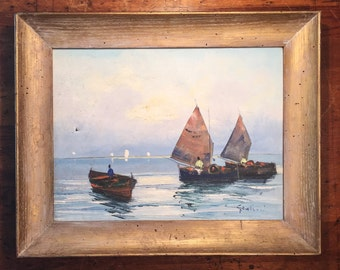 Mid-Century Oil Painting of Boats in Harbor - Signed - Mystery Artist - Africa? - Fishing - Sailboats - AS IS