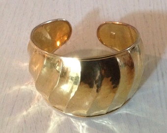 VERONESE signed Gold-Plated on Sterling Silver Wide Cuff Bracelet (Italy)