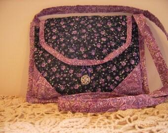 Dainty Purple Floral Handbag, I Pad/Tablet Tote