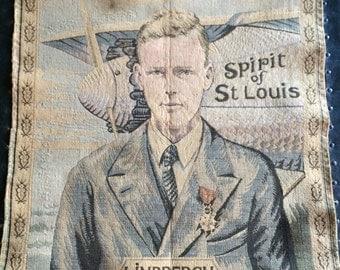 Vintage Charles Lindbergh Spirit of St Louis Tapestry circa 1927