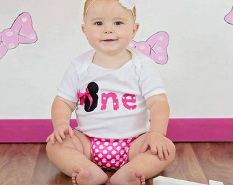 Mouse Ears 1st or 2nd birthday girls body suit